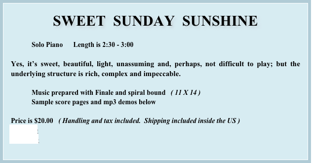 SWEET  SUNDAY  SUNSHINE
